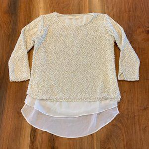 Cream Zara knit sweater with gold sequins